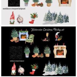 Watercolor Christmas Clipart Scene Creat 6339549 Free Download