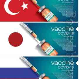3D corona vaccine illustration and country flag concept Free Download