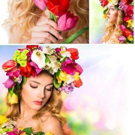 A wreath of flowers on a girl's head stock photo Free Download