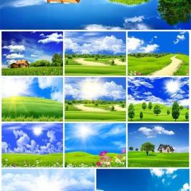 Beautiful nature rivers and meadows with grass stock photo Free Download