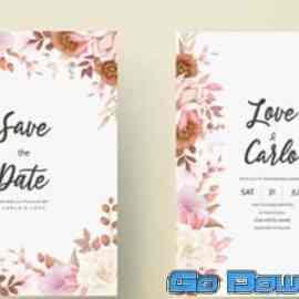 Romantic hand-drawn elegant floral wedding invitation card Free Download