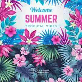 Summer tropical vector background Free Download