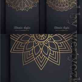 Vector islamic background black with gold patterns Free Download