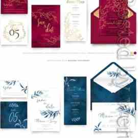 Wedding set of templates for invitations Free Download