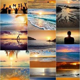 Beautiful Sunset and Sunrise at Beach Set of 66xUHQ JPEG Professional Stock Images Free Download