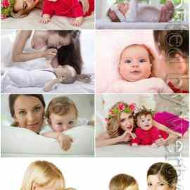 Little children with mothers stock photo Free Download