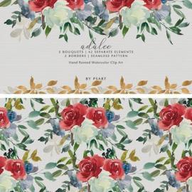 Red Saffron Blue & Cream Watercolor Flor 3382068 Free Download