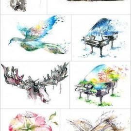 Watercolor illustration Set of 14xUHQ JPEG Professional Stock Images Free Download