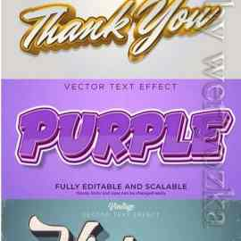 3d editable text style effect vector vol 660 Free Download