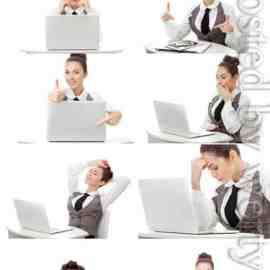 Business woman with laptop stock photo Free Download