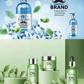 Cosmetics surrounded by ice and mint leaves on catwalk Free Download