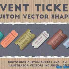 Event Ticket Custom Vector Shapes Free Download