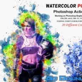 CreativeMarket Watercolor Portrait PS Action V-2 6143547 Free Download