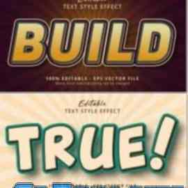 Set 3d editable text style effect vector vol 63 Free Download