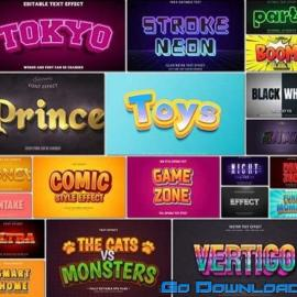 100 Bundle text style effect vector vol 22 Free Download