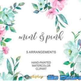 Mint Pink Floral Arrangements Free Download