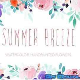 Summer Breeze Watercolor flowers Free Download
