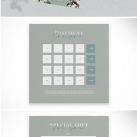 Vegetal Style Gift Card and Discount Coupon Layout Free Download