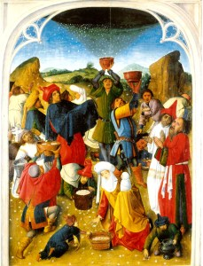 Gathering_of_the_Manna c 1460-1470 via Wiki-Public Domain