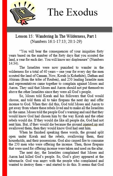 The Exodus (Lesson 15: Wandering In The Wilderness)