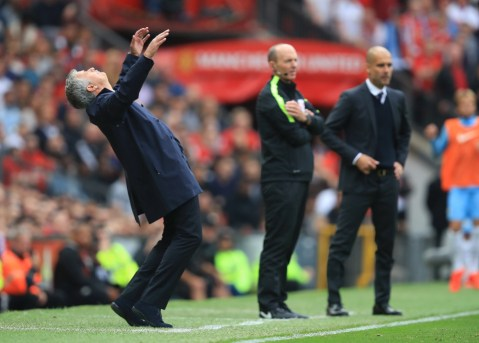 Manchester United manager Jose Mourinho reacts on the touchline.