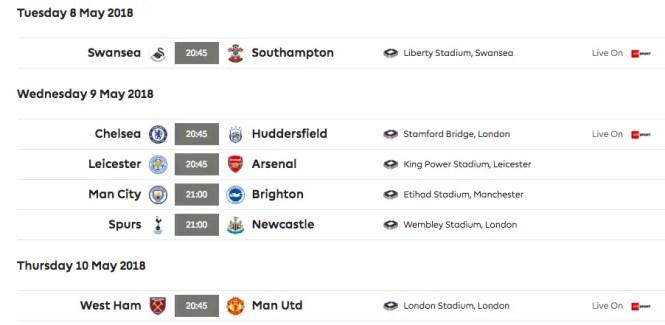 Les matchs à jouer en milieu de semaine. (source : premierleague.com)