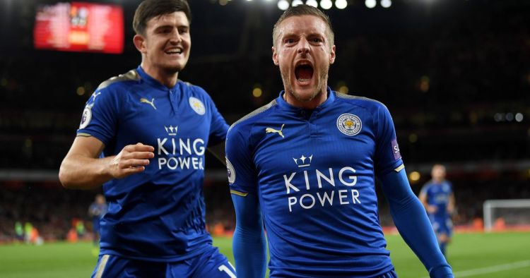 Vardy et Maguire célèbrent un but.