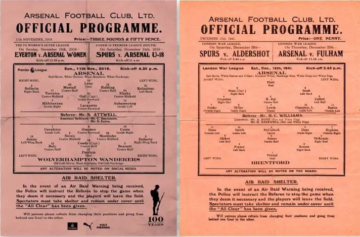 Reprise en 2018 par Arsenal de la présentation d'un programme édité en temps de guerre (1941) avec instructions en cas d'attaques aériennes