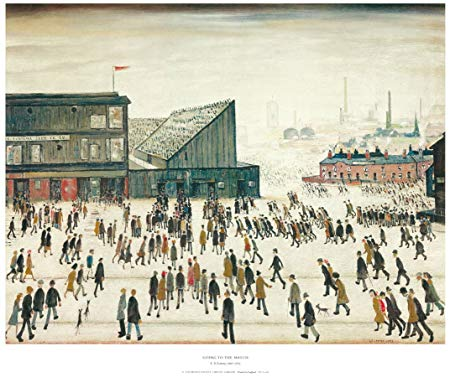 « Going to the Match » de S.Lowry:  La foule se rend à Burnden Park, le stade du Bolton Wanderers Football Club. On remarque la proximité des stades et de l'industrie dans le football