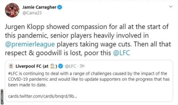 La réaction de Jamie Carragher sur Twitter. (Source : twitter.com)