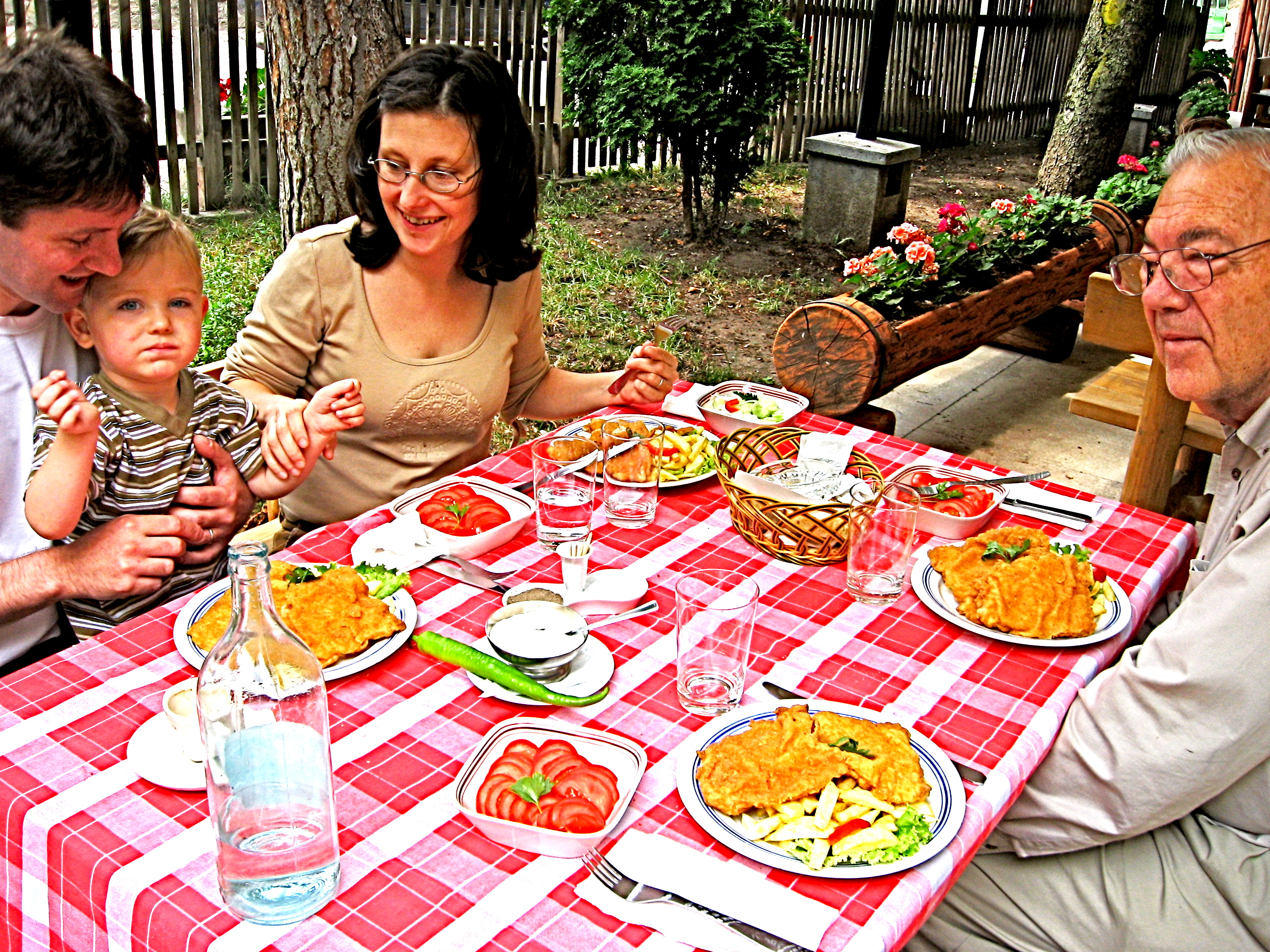Attila, Zsuzsa joined us for dinner at an outdoor restaurant