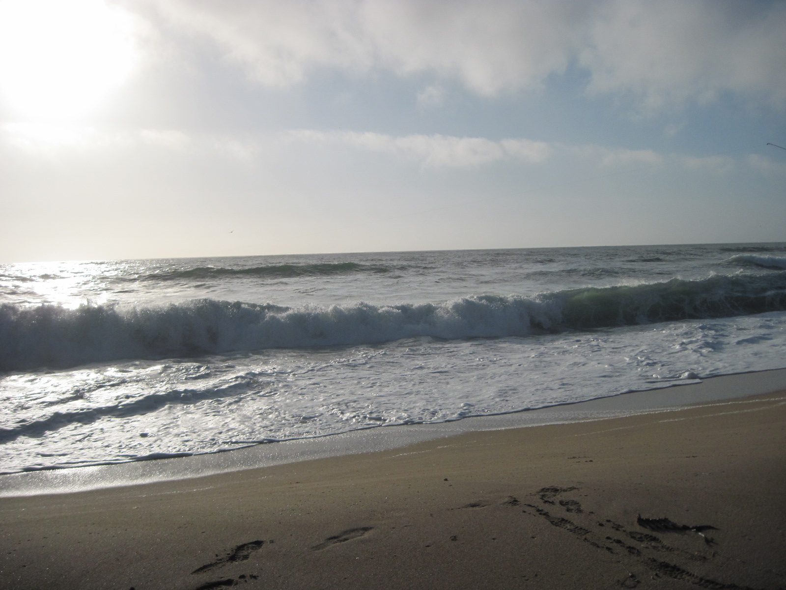Thursday the Pacific was wild, crashing loudly on the shore.