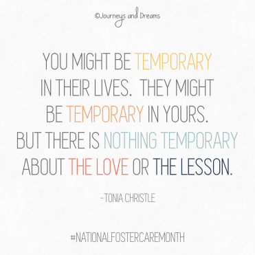 National Foster Care Month - Quote - Temporary by Tonia Christle