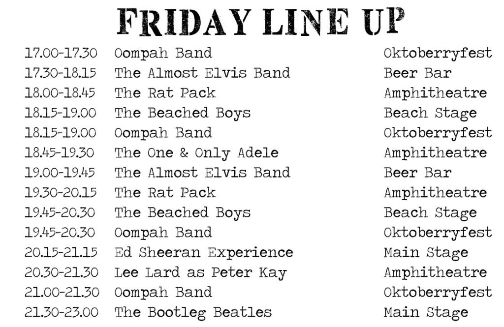 line up list 16 Friday