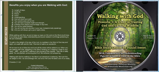Walking with God Proverbs 3 inside Audio CD