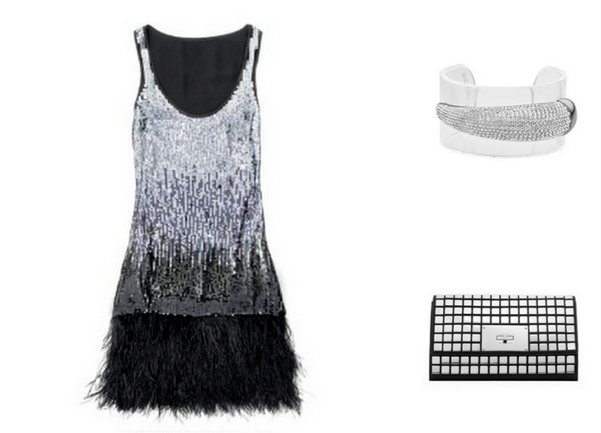MICHAEL Michael Kors Feather-Hem Sequined Dress, $395 - Michael Kors Pave Horn Cuff, $195 - MICHAEL Michael Kors Natalia Tile Flap Clutch, $378