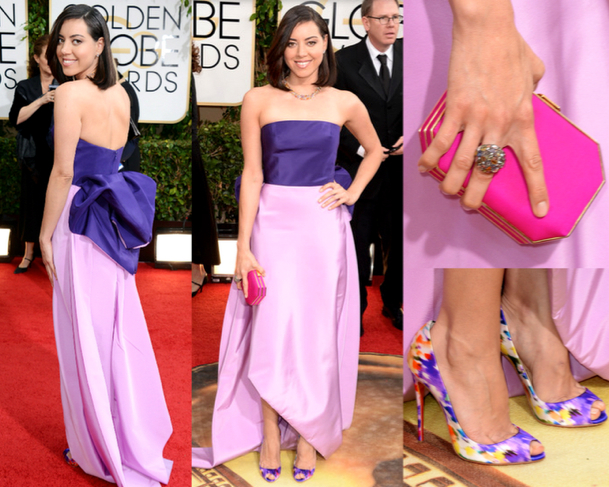 AUBREY PLAZA in OSCAR DE LA RENTA - 71st ANNUAL GOLDEN GLOBES AWARDS 2014