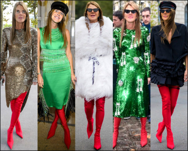 anna dello russo, looks, style, red boots, botas rojas, influencers