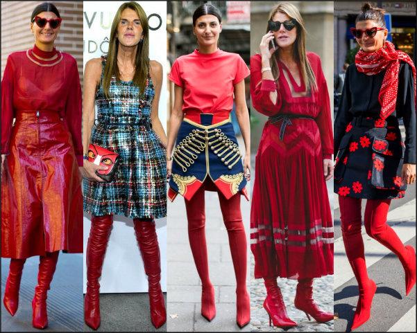 giovanna battaglia, anna dello russo, looks, style, red boots, botas rojas, trend