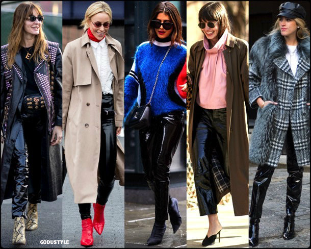 street style, trends, nyfw, fall 2018, vinyl pants, looks, otoño 2018, vinilo, tendencias, invierno 2019, fashion
