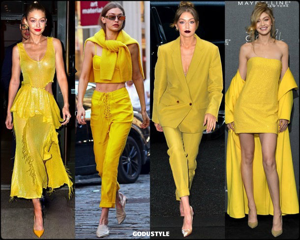 gigi hadid, yellow, amarillo, looks, street style, fall 2018, trend, details, shopping, otoño 2018, tendencias