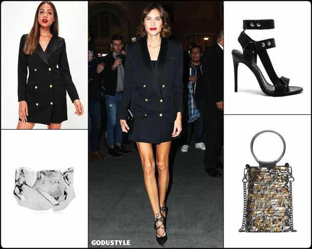 alexa chung, vestido tuxedo, trend, tendencia, vestido fiesta, party dress, shopping, look, style