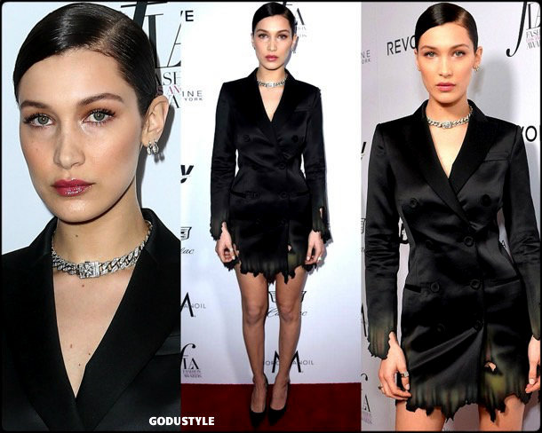 bella-hadid-tuxedo-dress-2019-party-trend-look-style-shopping-godustyle