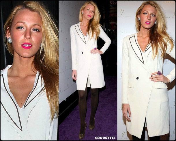 blake lively, tuxedo dress, vestido tuxedo, trend, tendencia, vestido fiesta, party dress, shopping look, style, details