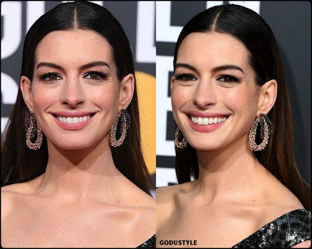 anne hathaway, golden globes, party looks 2019, red carpets, beauty look, style, details, fashion