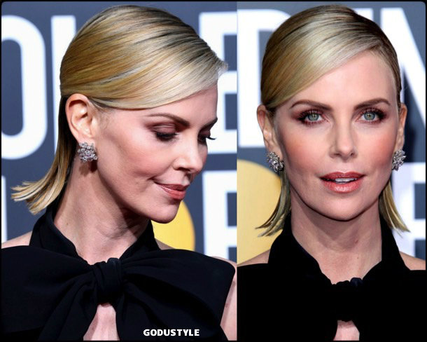 charlize theron, golden globes, party looks 2019, red carpets, beauty look, style, details, fashion