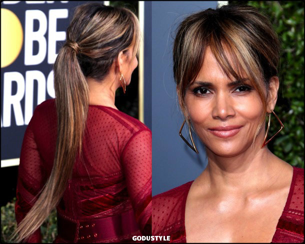 halle berry, golden globes, party looks 2019, red carpets, beauty look, style, details, fashion