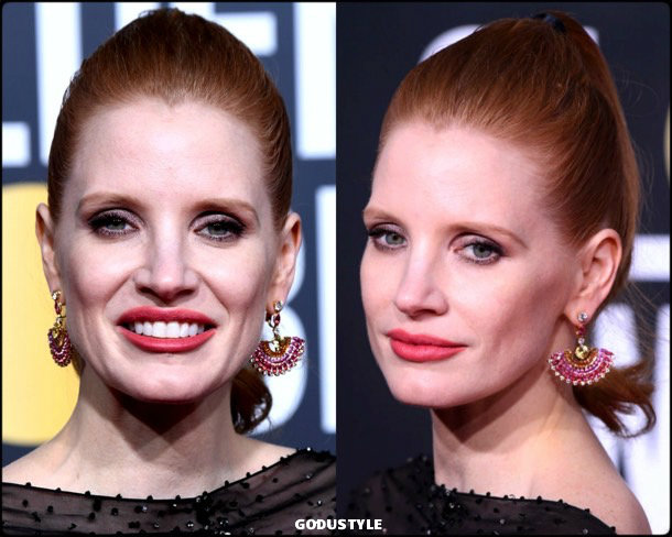 jessica chastain, golden globes, party looks 2019, red carpets, beauty look, style, details, fashion