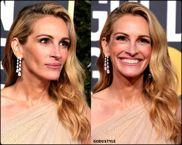 julia roberts, golden globes, party looks 2019, red carpets, beauty look, style, details, fashion