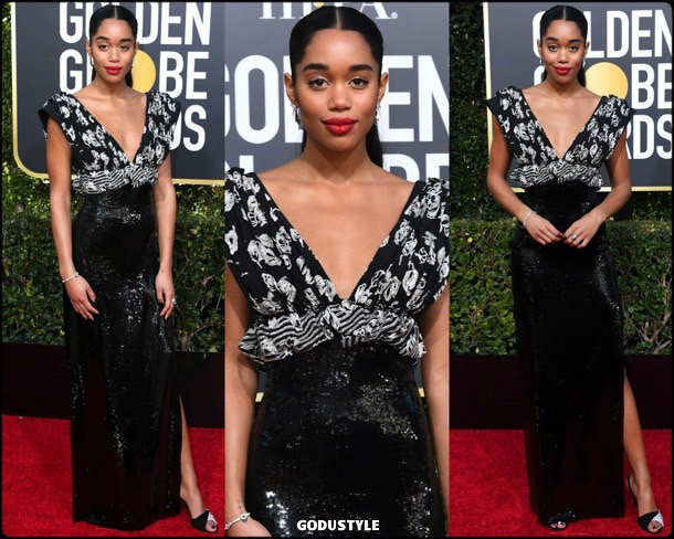laura harrier, golden globes, party, looks 2019, red carpets, looks, style, details, fashion, globos oro
